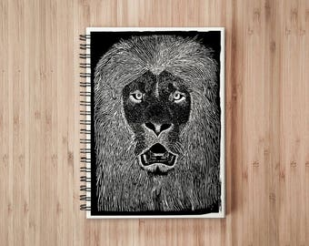 Lion Notebook/Sketchbook Wire Bound - Blank pages
