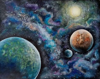 """Space painting, acrylic painting on watercolor paper 11""""x14""""."""