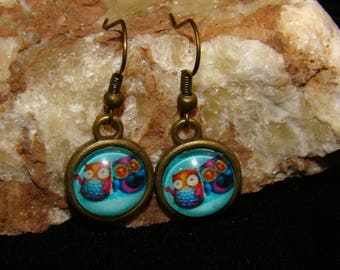 Cute Blue Owl Couple Hook Earings