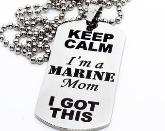 Dog Tag, Military Style Dog Tag, Stainless Steel Dog Tag, Jewelry Dog Tag, Personalized Dog Tag, Military Style Jewelry, Marine Mom