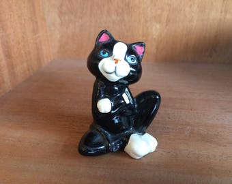 Cute Vintage Mid Century Black & White Porcelain Kitty Cat Figurine - blue eyes and pink ears