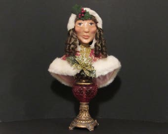 OOAK Art, Christmas Girl, Hand made Polymer Clay Bust by Susan Massey
