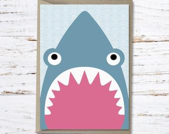 Shark greeting card // Shane the shark // High quality 350gsm matt card