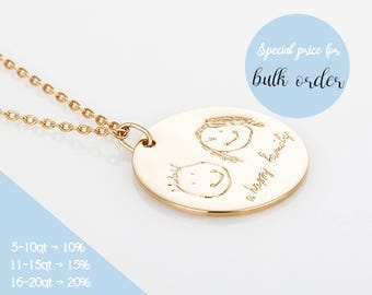 Gold Custom Child's Artwork Necklace,Family Disc Necklace,Personalized Handwriting Necklace,Gift for Mom,Sisters Grandmas or Best Friends G