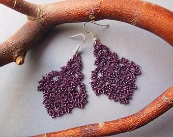Clothing Gift , Purple tatting earrings, filigree lace earrings, lace tatting jewelry, purple chandelier earrings, tatting jewelry.