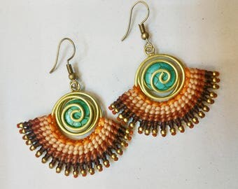 Cyan Stone Beads Brown Tone Wax Brass Earrings