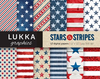 Stars and Stripes digital paper pack; Patriotic patterns; 4th of July backgrounds; red, blue, white; wood texture, watercolor, glitter