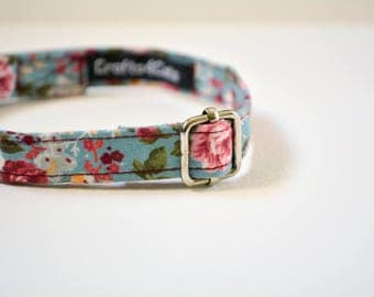 Valentine's day cat collar, kitten collar 'The Rose Garden' - cat collar breakaway, safety cat collar