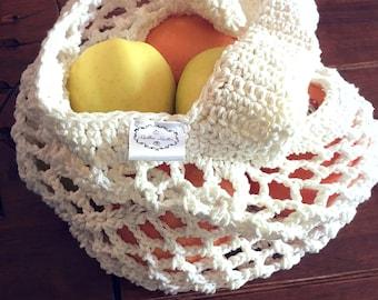 Crochet bag/ fruits/ grocery bag/ reusable/ market bag/ mesh bag/ cotton bag/ ecofriendly