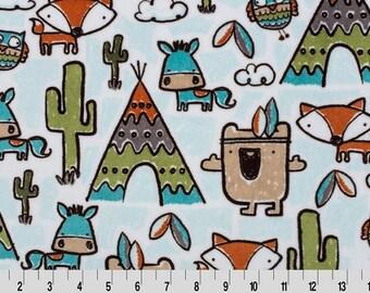 Pow Wow Cuddle Minky Fabric, Shannon Cuddle Minky Fabric, Fox Cuddle Minky Fabric, Tee Pee Minky Fabric, Fabric By The Yard
