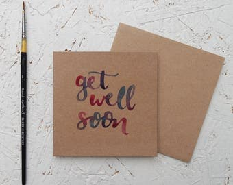 Get Well Soon - Hand drawn Mini Brown Card