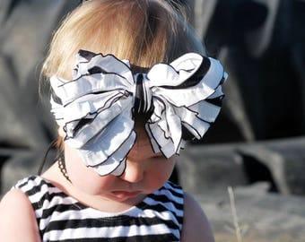 Black and White Ruffle Headwrap