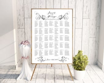 Wedding Seating Chart - Floral Elements - Swirls - Seating Board - Seating Sign  and Plan - Printable - Digital File - Colors Available