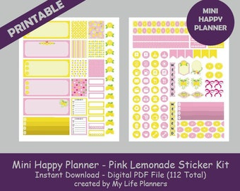 MINI Happy Planner Printable Stickers, Pink Lemonade Weekly Kit, Planner Kit, Planner Stickers, MINI Happy Planner, Instant PDF Download