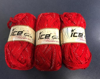 Three skeins high quality Ice brand red and silver ruffle scarf yarn from Turkey