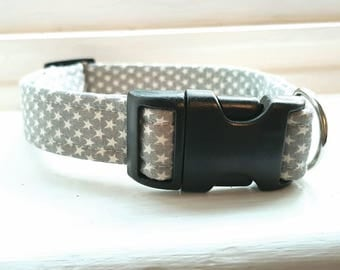 Dog Collar in grey with white stars - Grey Dog Accessories - Metal or Plastic Buckle - Adjustable - Gray - White Stars
