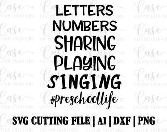 Hashtag Preschool Life SVG Cutting File, Ai, Dxf and PNG | Instant Download | Cricut and Silhouette | School | back to school | Pre-K