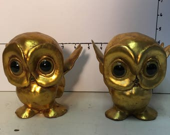 California Pottery Gold Owl pair