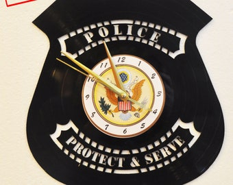 Police Officer themed Vinyl Album Record Clock made in the > USA < with FREE Shipping!