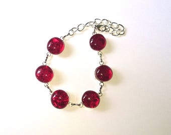 POMEGRANATE glass fusing Dichroic Glass bracelet