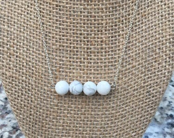 White Marble Beaded Dainty Chain Necklace