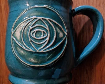 Sacred geometry vesica piscis mug, 16 ounce handmade ceramic mug for coffee or tea #290
