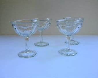 Vintage Pressed Glassed Sherbert Goblets - Set of 4