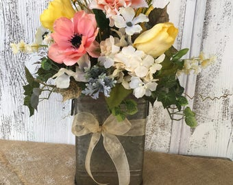 A Spring Arrangement in a Galvanized Tin, Mothers Day, Easter Arrangement, Wedding Centerpiece, Summer Arrangement
