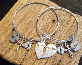 Mother/Daughter Matching Charm Bracelets, mother daughter bracelet set, mother day gift, gift for mom