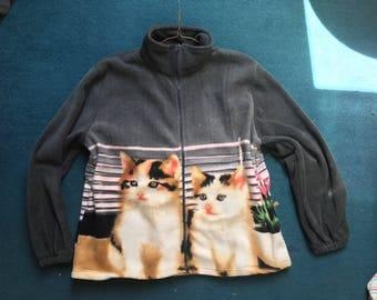 Cute fleece cat zip up jacket