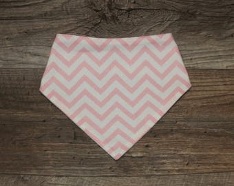 Bandana Bib | Chevron | Bibdana | Pink | Teething | Baby | Unisex | Drool Bib | Kenton Creations | Perfect Gift | Handmade in Canada