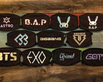 K-Pop Face / Mouth Mask (BTS, EXO, Monsta X, GOT7, NCT127, SF9, BAP, Seventeen, SHINee, Twice, BlackPink)