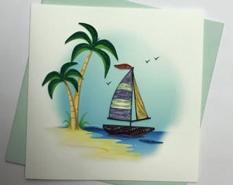 Sail Boat Quilling Greeting Card
