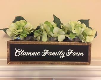 Personalized Planter Box, Custom table centerpiece, fireplace decor, farmhouse