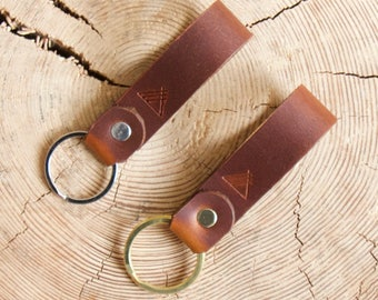 Brown Leather Keychain Australian Custom Leather Keyring Personalised Key Fob Initial Keyring Hand Stamped Leather Anniversary Mens Gift