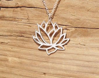 Sterling Silver Lotus Blossom Flower Large Pendant Openwork Yoga Necklace