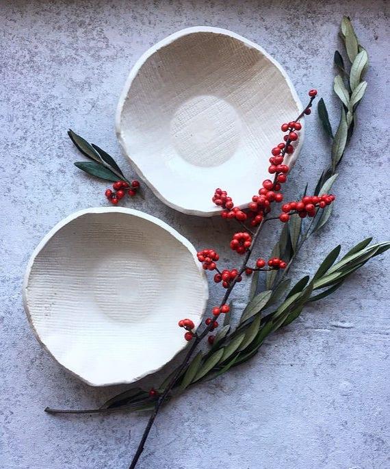 Winter White Porcelain Bowls