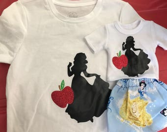 "CASSIE N ME Collection - Disney princesses S-Z- (snow white, sofia, tiana, tinkerbelle) Girl shirt and 18"" doll matching shirt and skirt set"