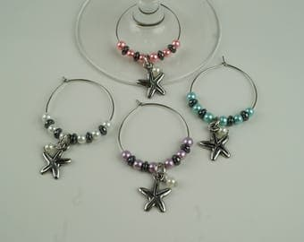 Starfish (light colors) Wine Charms-4pc