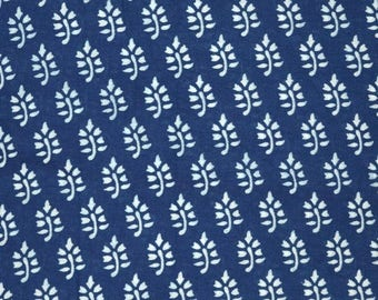10% Off On Blue and White Leaf design Indian Block Print Cotton Fabric