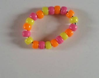 Children's beaded bracelet - Orange, pink & yellow