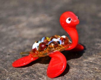 Red glass turtle figurine animals glass turtles sculpture art glass toy murano turtle blown red animals tiny big turtle animals figures