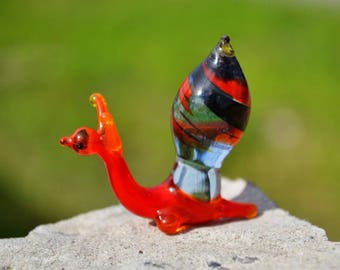 Red Glass snail sculpture blown glass snail small animals glass miniature toy murano snail animals tiny small snail collection figure toys
