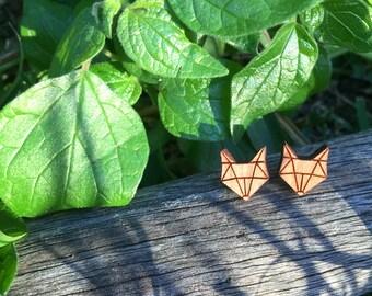 Fox geometric wooden stud earrings - fox earrings - fox wooden earrings - wooden jewelry - animal earrings - geometric animal earrings