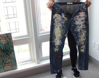 Painted Free People Jeans