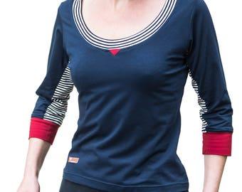 "Organic shirt ""Nanna Navy"" 3/4 sleeve cotton"