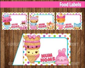 Num Noms Food Labels, Printable Num Noms food tent cards, Num Noms party food cards instant download