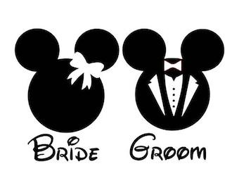 Bride and Groom Mickey Minnie Mouse Silhouette Disney Vinyl Decal Sticker Wedding Home Decor