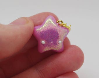 Polymer clay star charm: handmade, pink, glittery, kawaii, fashion charm
