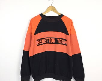 VINTAGE RARE!! Benetton Sweatshirt Formula 1 Racing Team F1 spellout embroidery sweatshirt / Benetton Team Large Size